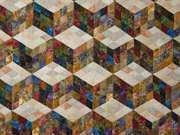 Tumbling Blocks Nine Patch Quilt great meticulously made Amish