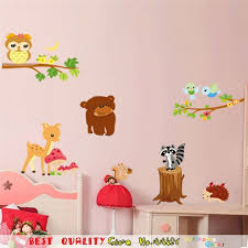 stickers ours chambre bébé bébé zoo wall sticker ours hibou cerf écureuil oiseau mur stickers