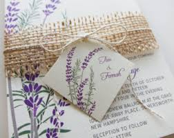 Purple Lavender Wedding Invitations Burlap Twine And Tag Rustic Rosemary Herb