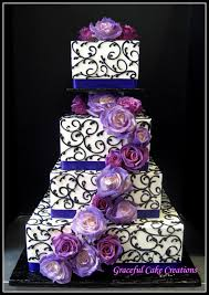 Elegant Purple And Black Square Wedding Cake