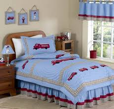 Blue Red Vintage Fire Truck Boys Bedding Full/Queen Comforter Set