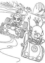 Vanellope And King Candy Car Racing In Wreck It Ralph Movie Coloring Pages
