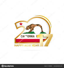 Year 2017 With California State Flag Pattern Stock Vector