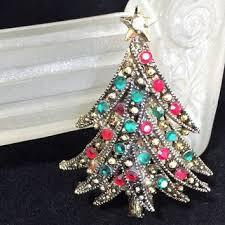 Hollycraft Rhinestone Christmas Tree Brooch Red And Green Glass