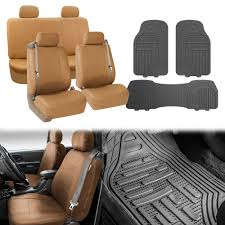 BESTFH: Truck Tan Seat Covers Set With Heavy Duty Floor Mat Combo ...