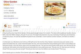 Olive Garden Yelp Review IYCATT