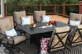 Cast Aluminum Patio Furniture With Sunbrella Cushions by Newport Cast Aluminum Outdoor Patio 7pc Dining Set 44x84 Dining