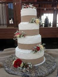Rustic Country Wedding Cake With Burlap Ribbon