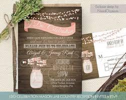 Mason Jar Wedding Invitations Set Rustic Mason Jar Country Wedding