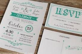 Diy Rustic Emerald Wedding Invitation And Postcard Rsvp Card