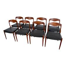 1960s Vintage Danish Modern Moller Style Leather Dining Chairs - Set Of 8 Modern Ding Chair Tribute Collection Contemporary Danish Teak Black Leather Chairs Set Of 4 Exclusive And Marvin Midcentury Faux 2 Rosewood And Whosale Room Ideas Different Mid Century Best Ding Chairs Room Fniture Italian Mid Century Danish Modern 6 Erik Buck Rosewood Leather Emfurn Fox1705bset2 Fniture By Safavieh