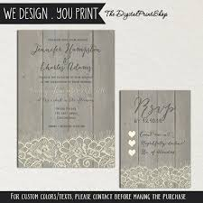 Rustic Wedding Faux Wood Invite Printable Carved Lace Reception INVITATION RSVP Card DIY 38 Digital Downloadable File