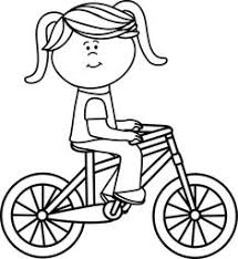 Biking Clipart Line Girl Riding A Bicycle Picture Transparent