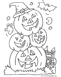 Bat Ghost And Halloween Pumpkins Coloring Page
