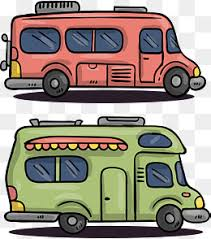European Style Hand Painted RV Vector Camping Vehicle By Car