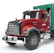 Bruder Toys Mack Granite Garbage Truck (Ruby, Red, Green) - Bruder