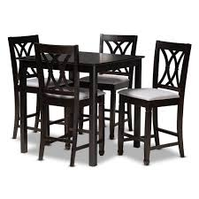 Baxton Studio Reneau 5-Piece Gray And Espresso Pub Set 157 ...