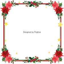 Retro Christmas Safflower Border Xmas Red Border Flower PNG And