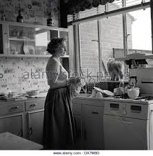 Historical Picture 1950s Showing A Housewife In Her Kitchen Drying The Dishes With Cat