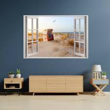 152 wandtattoo fenster ostsee strandkorb maritim wohnzimmer wanddeko wandbild
