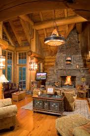 Simple Log Home Great Rooms Ideas Photo by This Great Room Fantastic Lighting R U S T I C