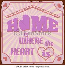 Home Is Where The Heart Vintage Poster Vector
