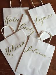 Bridesmaid Gift Bag Hand Lettered Customizedelegant Simple Gold