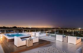 Roof Deck Design Ideas Glass Railings Wood Jacuzzi Modern Outdoor Furniture