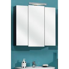 badezimmer spiegelschrank in anthrazit livorno i 3 türig inklusive led spiegelle mainz 68 x 73 cm