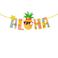 OULII Luau Party Banner Aloha Pineapple Banner Hawaiian Luau Garland Summer Tropical Party Supplies Photography Props