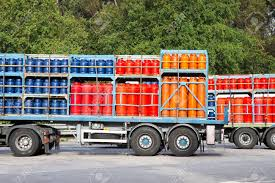 100 Propane Trucks Parked On A Street Load Of Colored Gas Tanks Stock