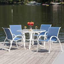 Aruba II 5 Piece Aluminum Patio Dining Set With 48 Inch Round Table &  Stacking Chairs By Telescope Casual - Gloss White/Cobalt Zuo Mayakoba White Stationary Alinum Outdoor Ding Chair 2pack Best Patio Fniture And Metal Garden Table Folding Lofty Clearance Epic Wrought Iron Sets Chair Lisa White Breeze Ding Chair Shiaril 5 Pc And Navy Set Setting Chairs Wicker Room Resin Modern Cushions Of 20 High Gloss By Andre Putman For Emeco Mamagreen Sr Hughes Grace 6 Seater Warehouse