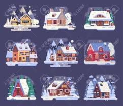 100 Rural Design Homes Winter Country Houses And Cabins Collection Cartoon Snow Homes