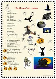 Poems About Halloween That Rhymes by 19 Free Esl Spooky Worksheets