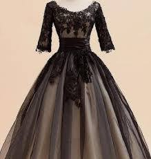 2014 Fashion Black Vintage Short Wedding Dresses 3 4 Long Sleeve