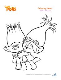BRANCH Y POPPY TROLLS PARA COLOREAR Dibujos Para Colorear