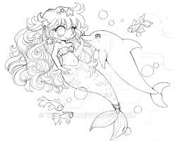 Mermaid And Dolphin Lineart Comm Sketch By YamPuff On DeviantArt