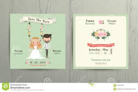 Rustic Wedding Cartoon Bride And Groom Couple Invitation Card