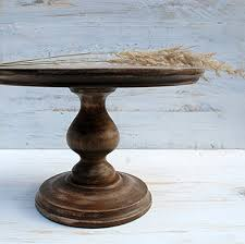 ALL SIZES 10quot 12quot 14quot 16quot Stand Cake Rustic Wooden