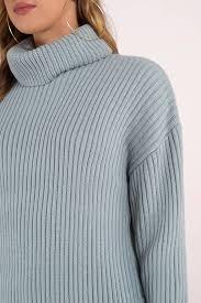 How Does It Feel Vintage Blue Turtleneck Sweater Dress
