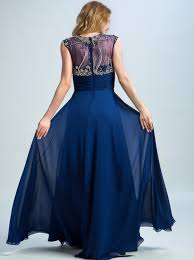 a line scoop floor length chiffon navy blue prom dress with beading