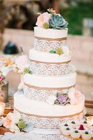 Rustic Lace And Burlap Wedding Cake