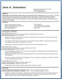 Manufacturing Engineer Resume Examples Experienced Engineering Jobs Process