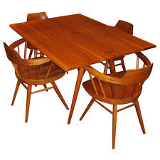 George Nakashima Cherry Dining Table And Four Windsor Armchairs For Sale