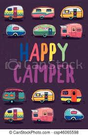 Happy Camper Trailer Banner Vector