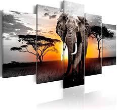decomonkey bilder afrika tiere 200x100 cm 5 teilig leinwandbilder bild auf leinwand wandbild kunstdruck wanddeko wand wohnzimmer wanddekoration deko