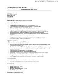 Sample Construction Resume Templates