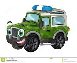 Cartoon Happy And Funny Off Road Military Truck / Smiling Vehicle ...