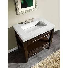 19 Inch Deep Bathroom Vanity by Silkroad Exclusive 36 Inch Carrara White Marble Stone Top Bathroom