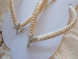 Wedding Sandals Flat Shoes Bridal Slippers Ivory Footwear Starfish Flip Flops Beach
